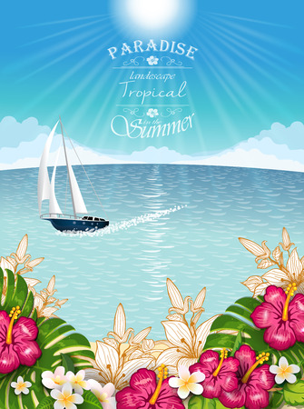 Tropical landscape  vegetation with boat Illustration