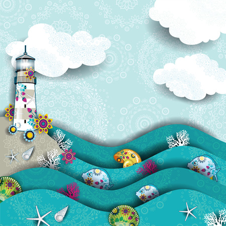 Decorated seascape with lighthouse  Vector