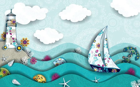 Landscape with boat and will do in the midst of the sea decoration