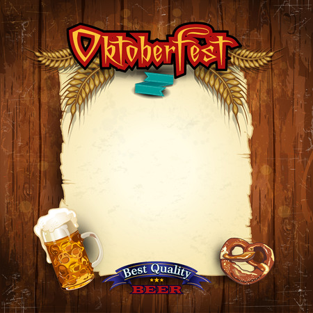 olden: Glasses of beer with pretzels and parchment
