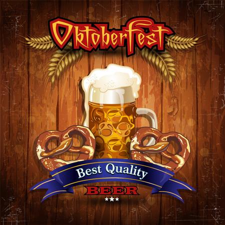 olden: Oktoberfest Beer with wood vintage Illustration