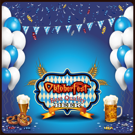 Oktoberfest ticket with beer and pretzel balloons-Transparency blending effects and gradient mesh-EPS 10