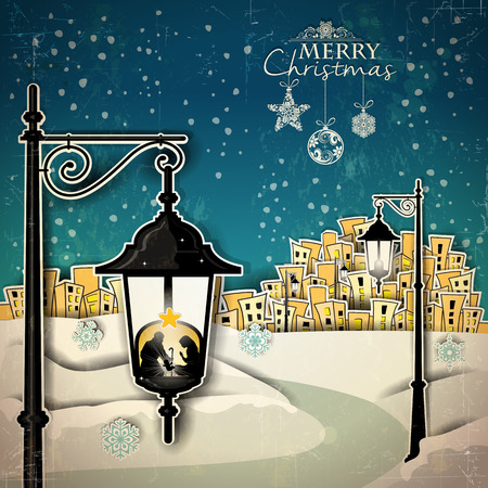 Nativity in to a lamppost with a country background-Vintage effects can be removed- Transparency blending effects and gradient mesh-EPS 10 Vector