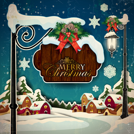 A country with snowy sign of Christmas greetings-Vintage effects can be removed- Transparency blending effects and gradient mesh Vector