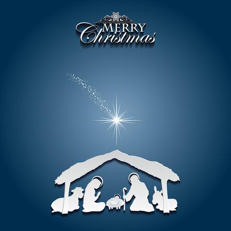 Nativity scene with the Holy Family  Illustration