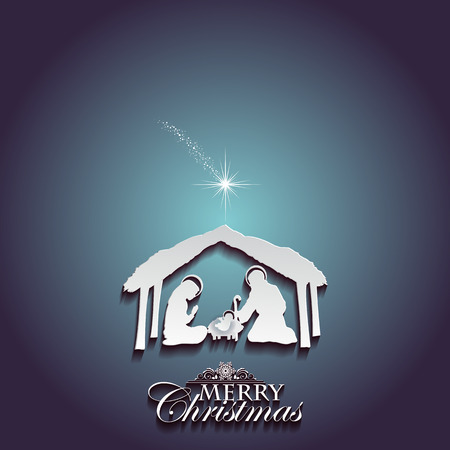 Nativity scene with the Holy Family white silhouettes on a blue background