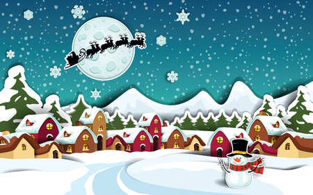 epiphany: Country rural snowy at Christmas with Santas sleigh-Transparency blending effects and gradient mesh-EPS 10
