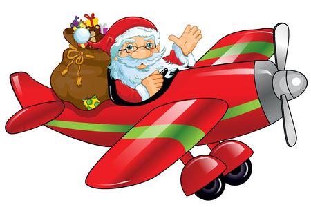サンタ クロースと贈り物飛行機単一レベルの透明性に関する効果やグラデーション メッシュ EPS 10 ブレンド  イラスト・ベクター素材