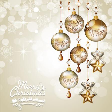 golden  gleam: Christmas greeting cards golden balls hanging light background-Transparency blending effects and gradient mesh-EPS 10 Illustration