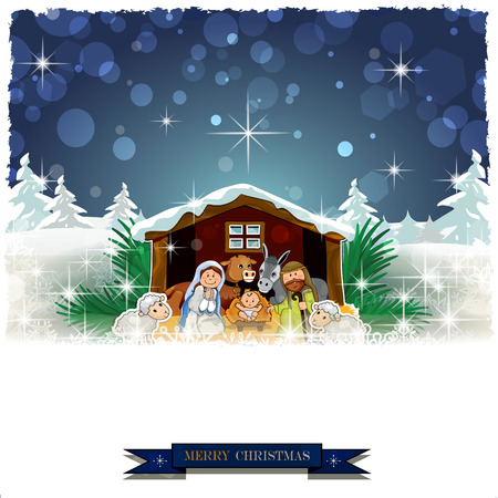 Nativity in the snow with pine trees and Christmas decorations-Vintage effects can be removed-Transparency blending effects and gradient mesh-EPS 10 Illustration