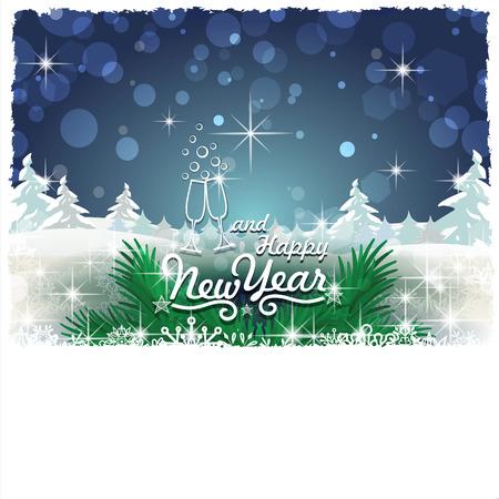 雪に覆われた風景透明ブレンディング効果とグラデーション メッシュ EPS 10 新年