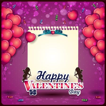 ハート型バルーン テキスト透明ブレンディング効果、グラデーション メッシュ EPS 10 を挿入するバレンタインデーのスペースの