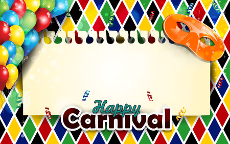 Carnival harlequin background balloons and confetti-With sheet where you can enter your own text-Transparency blending effects and gradient mesh-EPS 10