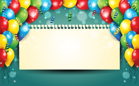 birthday party: Banner with balloons and confetti sheet where you enter your text-With sheet where you can enter your own text-Transparency blending effects and gradient mesh-EPS 10