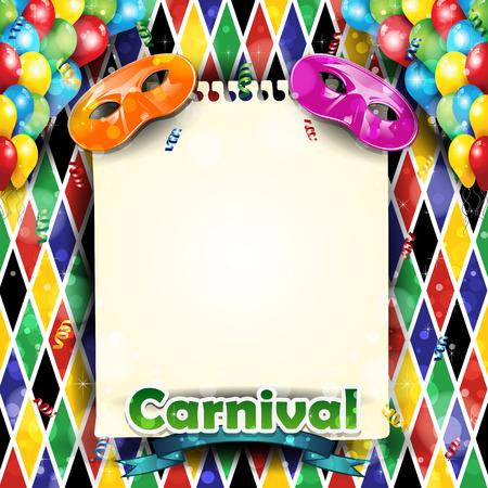 mascaras de carnaval: Carnaval fondo globos y confeti arlequín con-con la hoja donde puede introducir su propio texto-Transparencia efectos de mezcla y el gradiente de malla-EPS 10 Vectores