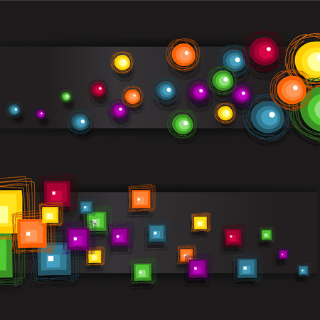 eg: Banner circles and squares dark background-Transparency blending effects and gradient mess