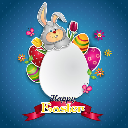 cheerfulness: White egg and bunny where you can insert your own text-transparency blending effects and gradient