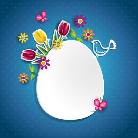 白い卵と花独自のテキスト-透明ブレンディング効果やグラデーション メッシュ EPS 10 を挿入することができます。  イラスト・ベクター素材