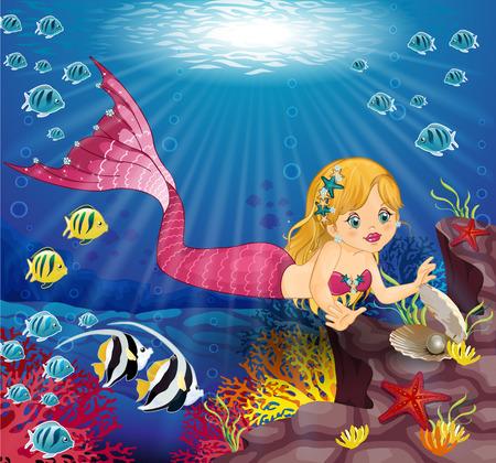 海-編集可能な様々 なレベル-透明ブレンディング効果、グラデーション メッシュの下にパールとリトル ・ マーメイド  イラスト・ベクター素材