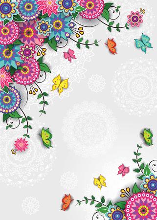 幾何学的の花背景に蝶透明ブレンディング効果、グラデーション メッシュ-
