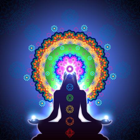 Meditatie chakra e luce-transparantie mengen-effecten en verloop mesh-EPS 10. Stock Illustratie