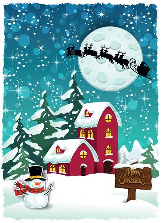 クリスマスにサンタさんのそり透明ブレンディング効果とグラデーション メッシュ EPS 10 雪の山荘