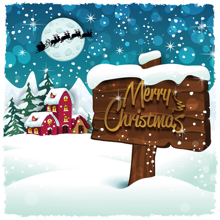 cottage: Merry Christmas sign on snowy mountain hut-Transparency blending effects and gradient mesh-EPS 10