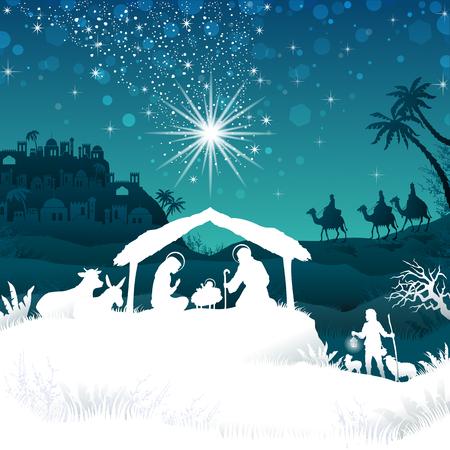 familia cristiana: Pesebre con la Sagrada Familia y los Reyes Magos de paisaje oriental - efectos de mezcla de transparencia y el gradiente de malla-EPS10 Vectores