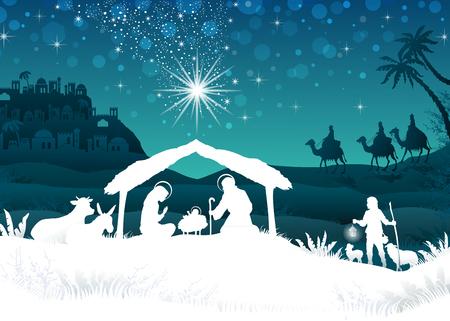 nacimiento: Pesebre con la Sagrada Familia y los Reyes Magos de paisaje oriental - efectos de mezcla de transparencia y el gradiente de malla-EPS10 Vectores