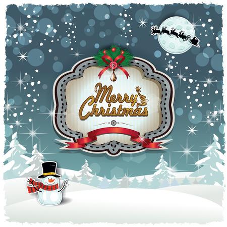 クリスマスにサンタさんのそり透明ブレンディング効果とグラデーション メッシュ様々 なレベル EPS 10 雪の風景