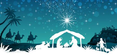 Scène de la Nativité de la Sainte Famille et les Rois Mages de paysage oriental - effets de mélange de transparence et de gradient maille EPS10 Vecteurs