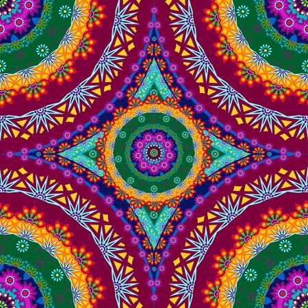 菱形曼荼羅花のシームレスなパターン単一レベルの透明性に関する効果やグラデーション メッシュ EPS 10 をブレンドします。  イラスト・ベクター素材