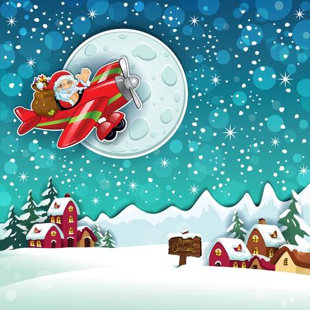 サンタ クロースと国雪透明ブレンディング効果、グラデーション メッシュ EPS 10 の飛行機のギフト  イラスト・ベクター素材