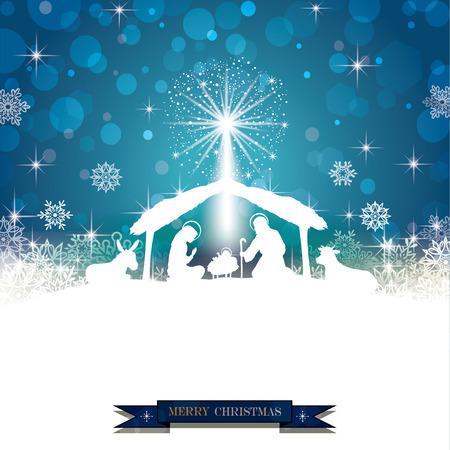 Natività silhouette bianca su sfondo blu con fiocchi di neve-effetti Trasparenza di fusione e gradiente maglie-EPS 10