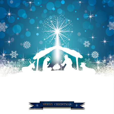 mother of jesus: Nativity silhouette White on a Blue Background with Snowflakes-Transparency blending effects and gradient mesh-EPS 10 Illustration