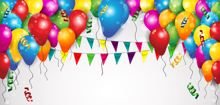 Drapeaux et Ballons Confetti pour les fêtes d'anniversaire avec un espace pour insérer votre texte-transparence effets et gradient de mélange maillage EPS 10
