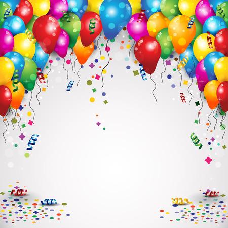 風船と紙吹雪テキスト透明ブレンディング効果やグラデーション メッシュを挿入するスペースとの誕生日パーティーのため  イラスト・ベクター素材