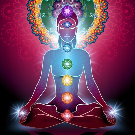 silueta humana: El yoga posición de loto y chakra y la luz y la transparencia de mezcla efectos gradiente de malla