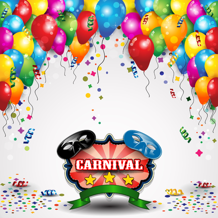 fun background: Carnival masks with balloons and confetti for parties-transparency blending effects and gradient mesh-EPS10 Illustration