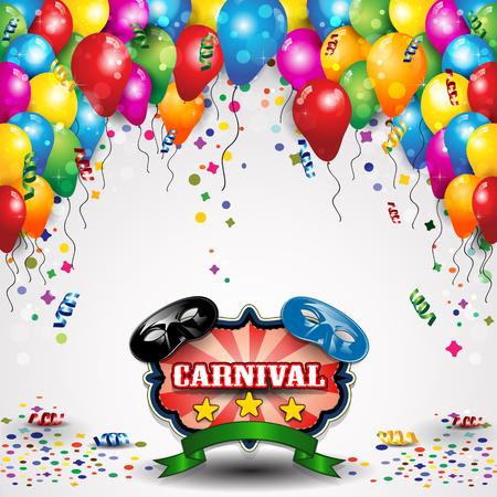 máscaras de carnaval con los globos y confeti para los partidos de transparencia efectos de mezcla y el gradiente de malla-EPS10 Ilustración de vector