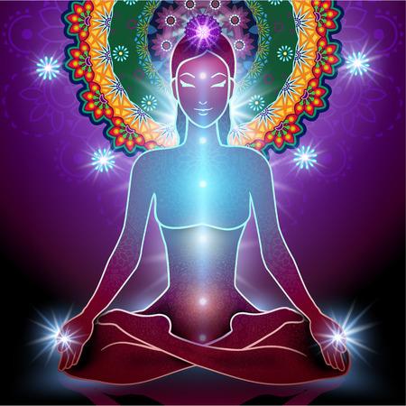 paz interior: El yoga posición de loto y chakra y la luz y la transparencia de mezcla efectos gradiente de malla