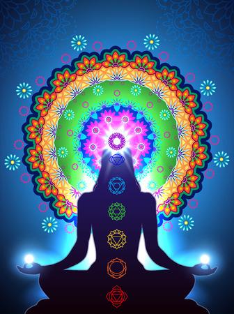 position d amour: Silhouette méditation chakra vertical et les effets de mélange de lumière et de transparence gradient mesh-EPS 10.