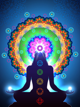 paz interior: Silueta chakra de la meditación vertical y efectos de mezcla de luz de transparencia y el gradiente de malla-10 EPS. Vectores