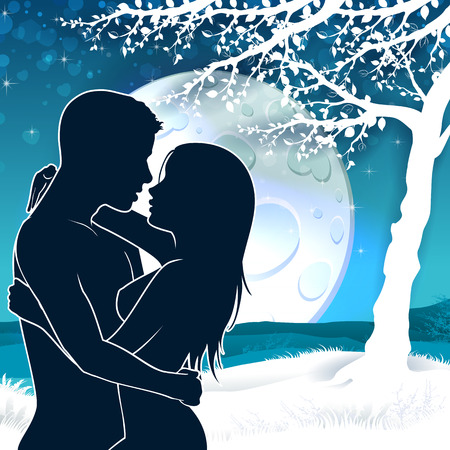 blending: Soulmate couple silhouette with sunrise and landscape-transparency blending effects and gradient mesh-EPS 10