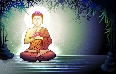 静かな禅の庭-透明ブレンディング効果、グラデーション メッシュ EPS 10 で蓮の花と瞑想の仏。 写真素材 - 55479827