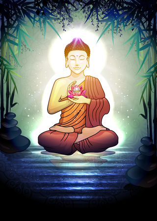 buddha lotus: Buddha in Meditation With Lotus Flower in Tranquil Zen Garden-Transparency Blending Effects and Gradient Mesh-EPS 10.