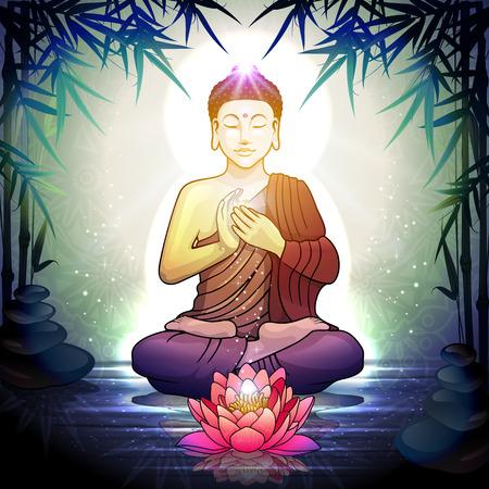 Buddha in meditazione con fiore di loto in un ambiente tranquillo giardino zen trasparenza effetti di fusione e sfumatura Mesh-EPS 10.