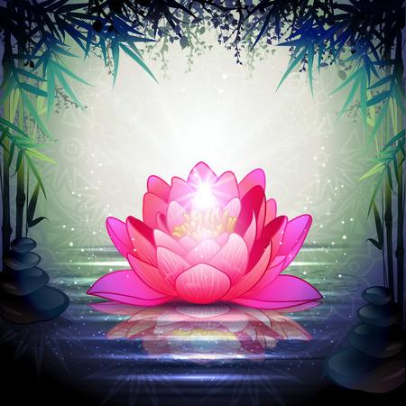静かな禅の庭-透明ブレンディング効果、グラデーション メッシュで蓮の花  イラスト・ベクター素材