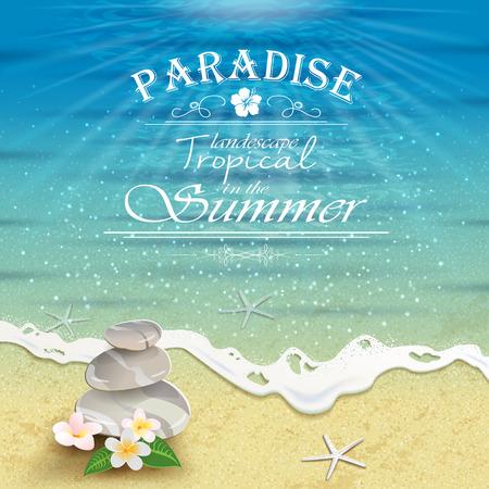 熱帯の花と石-編集可能な透明ブレンディング効果やグラデーション メッシュと海の風景