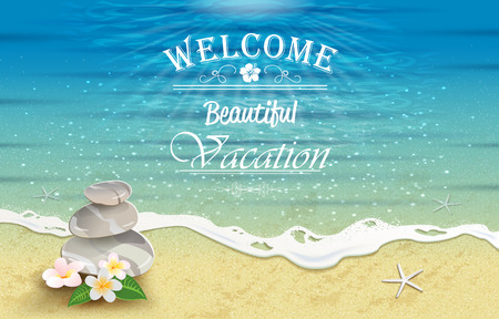 Seascape with tropical flowers and stones-editable-transparency blending effects and gradient mesh